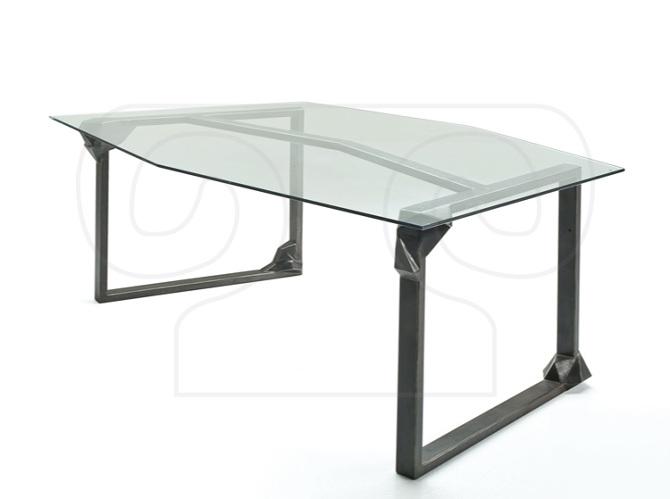tavolo in ferro ossidato e vetro - lafucinadiefesto.com